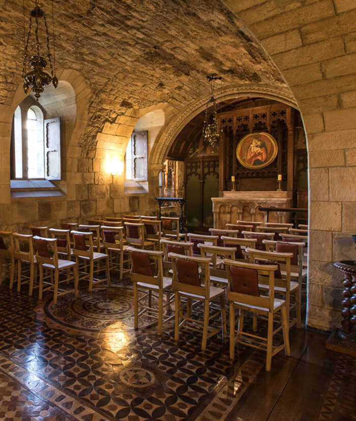 Chapel interior within Newbattle Abbey, events venue Scotland