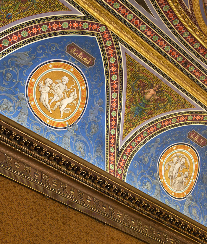 Intricate decorative ceiling in the 'Drawing room' at Newbattle Abbey events Venue Scotland
