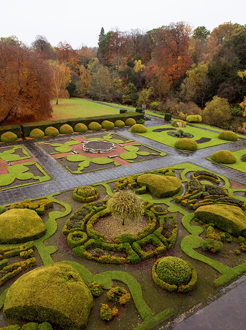 Beautiful Italian gardens and Autumn trees outside Newbattle Abbey events venue Scotland